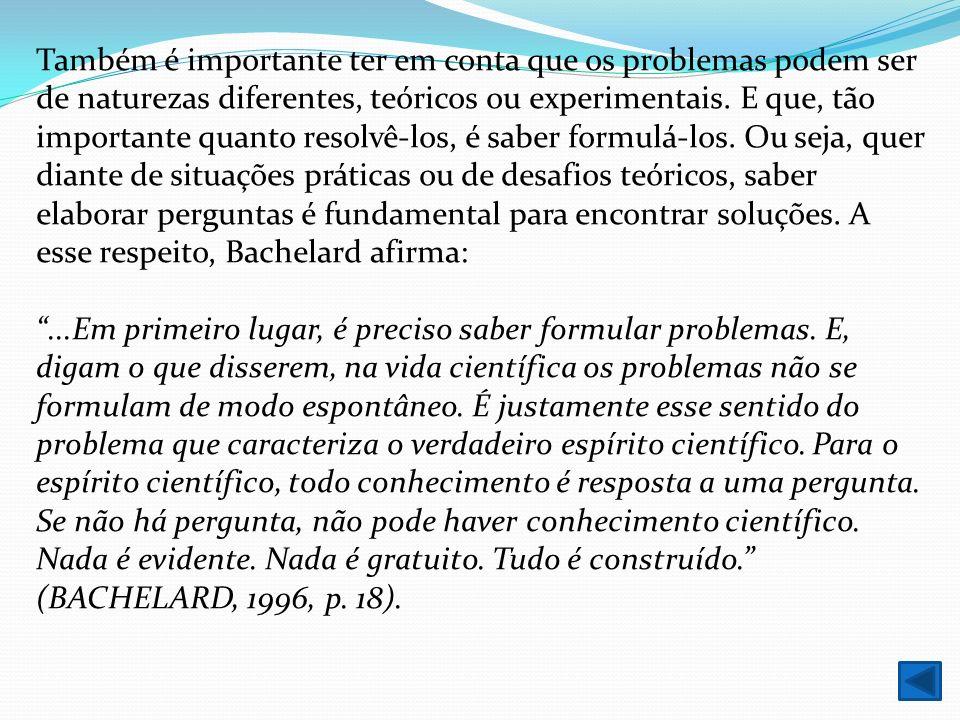 Também é importante ter em conta que os problemas podem ser de naturezas diferentes, teóricos ou experimentais. E que, tão importante quanto resolvê-los, é saber formulá-los. Ou seja, quer diante de situações práticas ou de desafios teóricos, saber elaborar perguntas é fundamental para encontrar soluções. A esse respeito, Bachelard afirma: