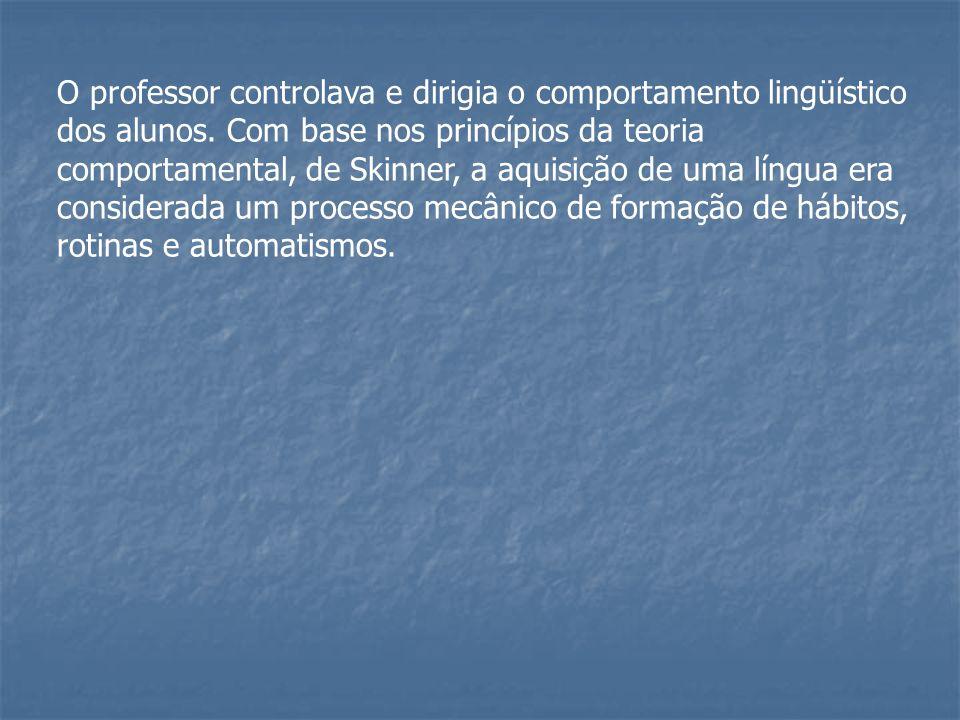 O professor controlava e dirigia o comportamento lingüístico dos alunos.