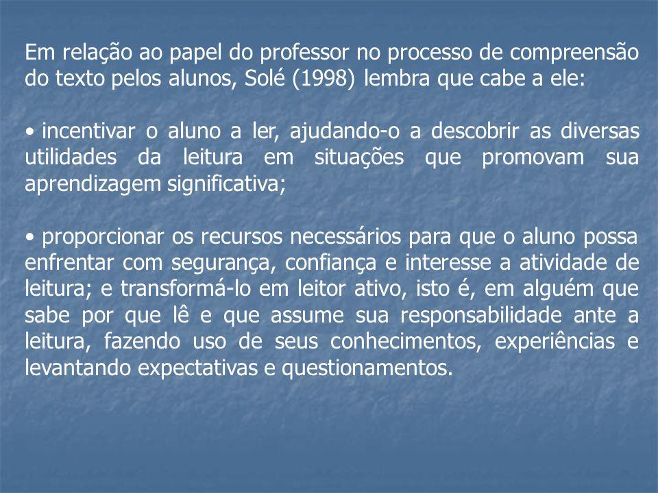Em relação ao papel do professor no processo de compreensão do texto pelos alunos, Solé (1998) lembra que cabe a ele: