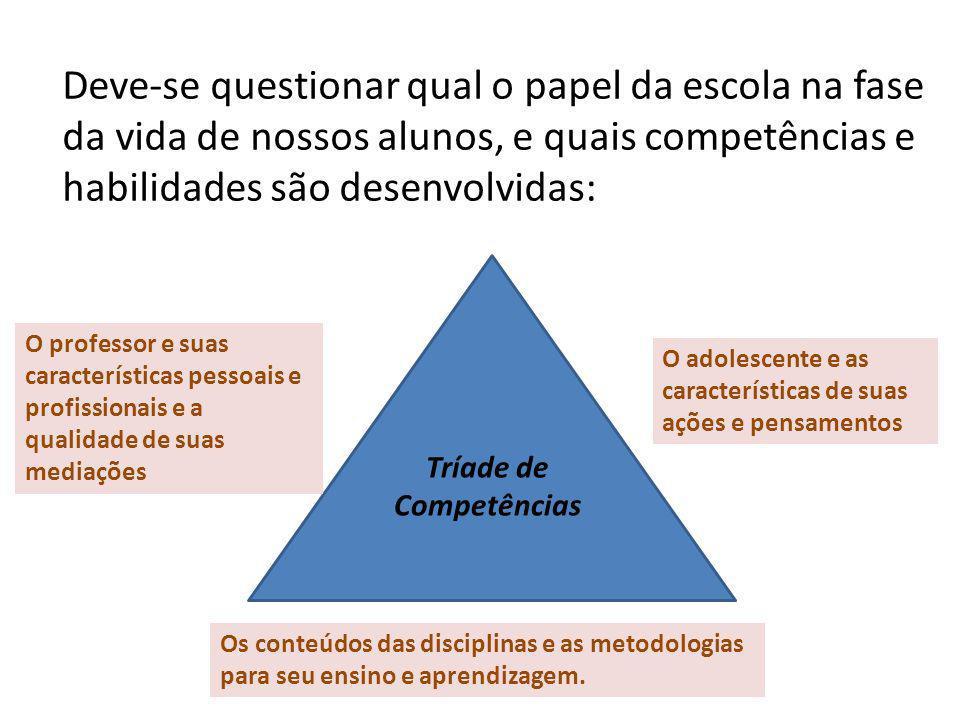 Deve-se questionar qual o papel da escola na fase da vida de nossos alunos, e quais competências e habilidades são desenvolvidas: