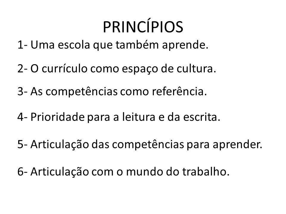PRINCÍPIOS 1- Uma escola que também aprende.