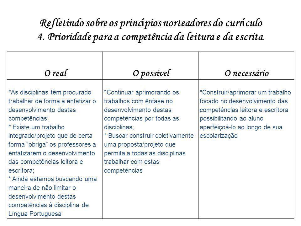 Refletindo sobre os princípios norteadores do currículo
