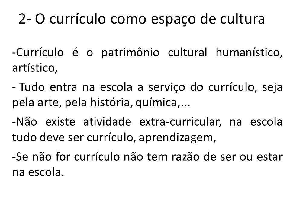 2- O currículo como espaço de cultura