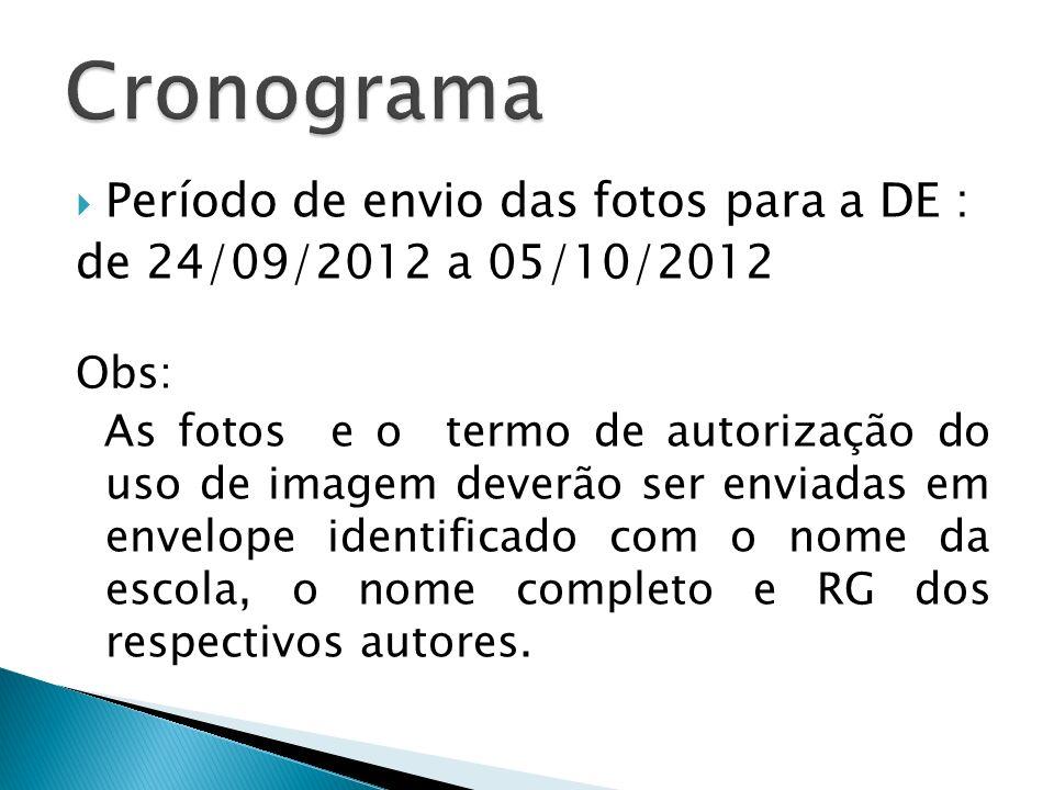 Cronograma Período de envio das fotos para a DE :