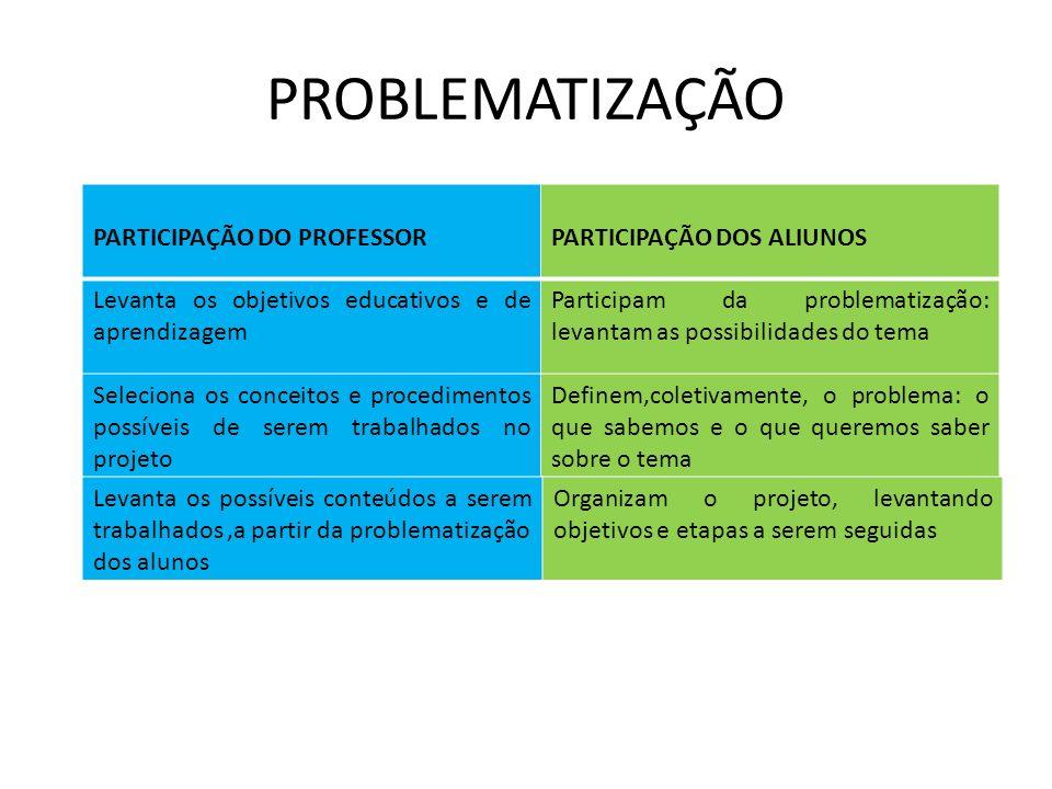 PROBLEMATIZAÇÃO PARTICIPAÇÃO DO PROFESSOR PARTICIPAÇÃO DOS ALIUNOS