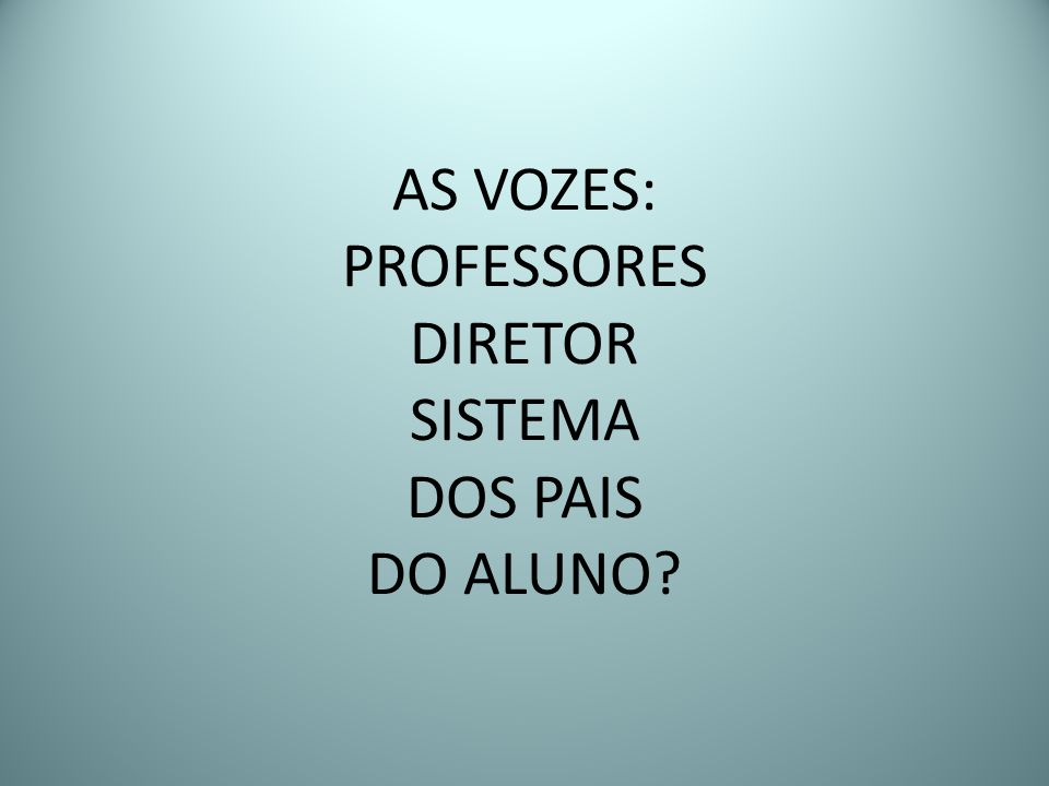 AS VOZES: PROFESSORES DIRETOR SISTEMA DOS PAIS DO ALUNO