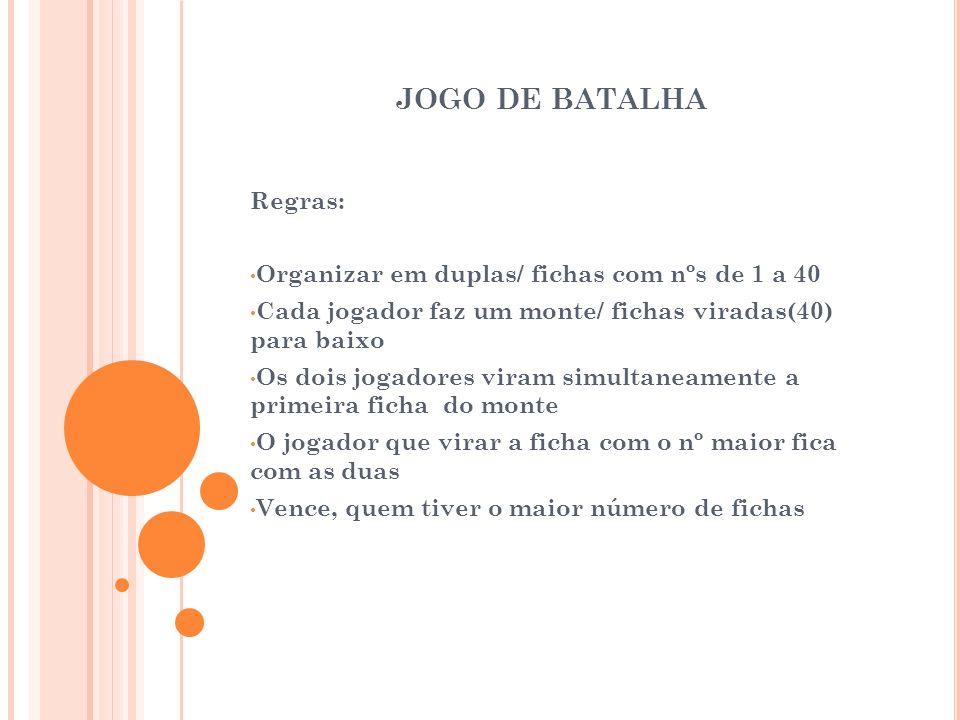 JOGO DE BATALHA Regras: Organizar em duplas/ fichas com nºs de 1 a 40