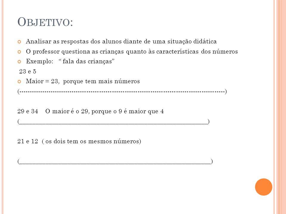 Objetivo:Analisar as respostas dos alunos diante de uma situação didática. O professor questiona as crianças quanto às características dos números.