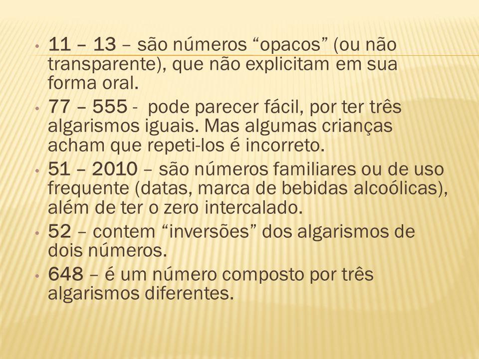 11 – 13 – são números opacos (ou não transparente), que não explicitam em sua forma oral.