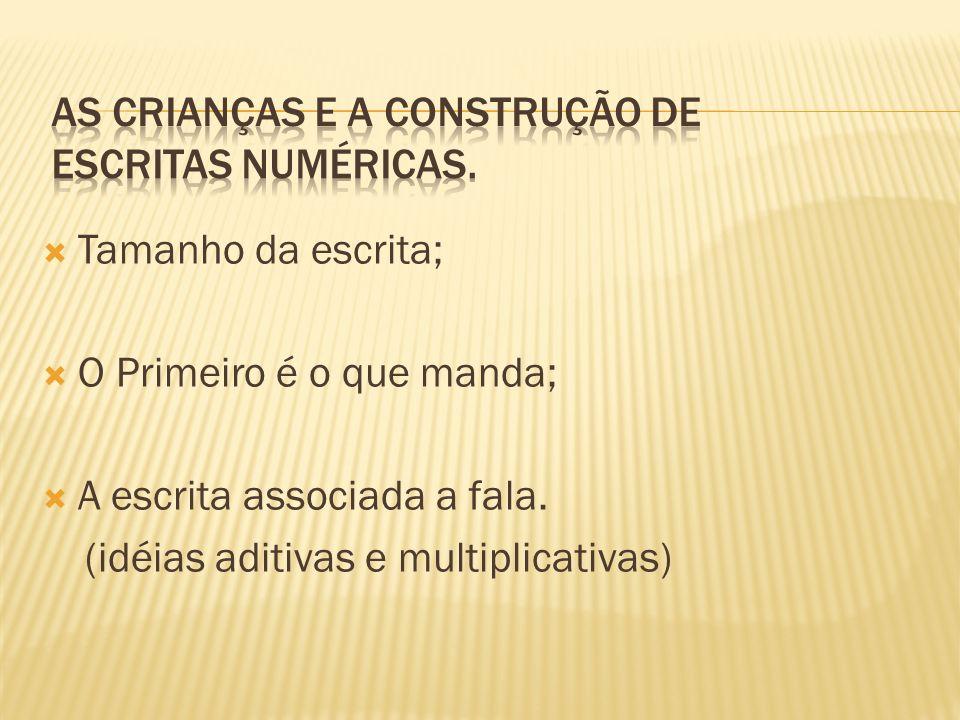 As crianças e a construção de escritas numéricas.
