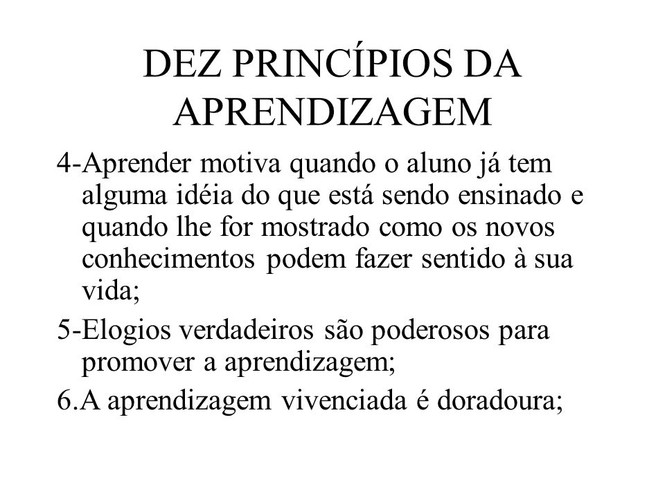 DEZ PRINCÍPIOS DA APRENDIZAGEM