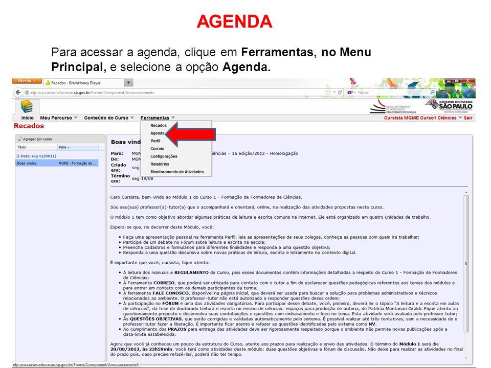 AGENDA Para acessar a agenda, clique em Ferramentas, no Menu Principal, e selecione a opção Agenda.