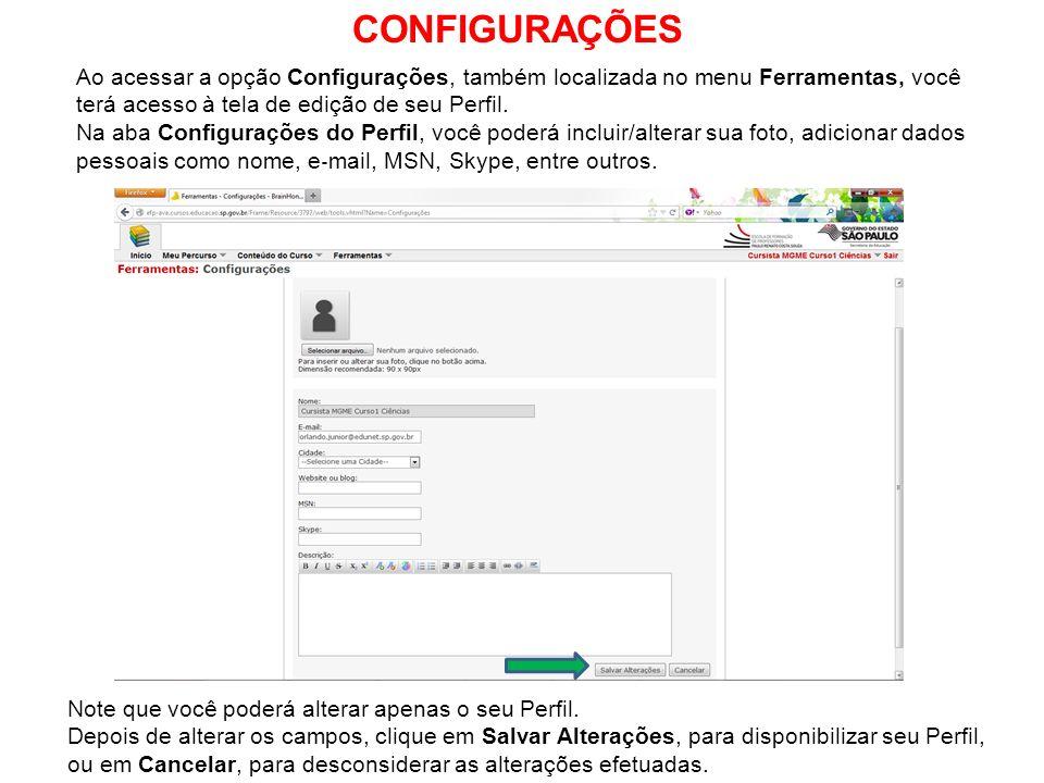 CONFIGURAÇÕES Ao acessar a opção Configurações, também localizada no menu Ferramentas, você terá acesso à tela de edição de seu Perfil.