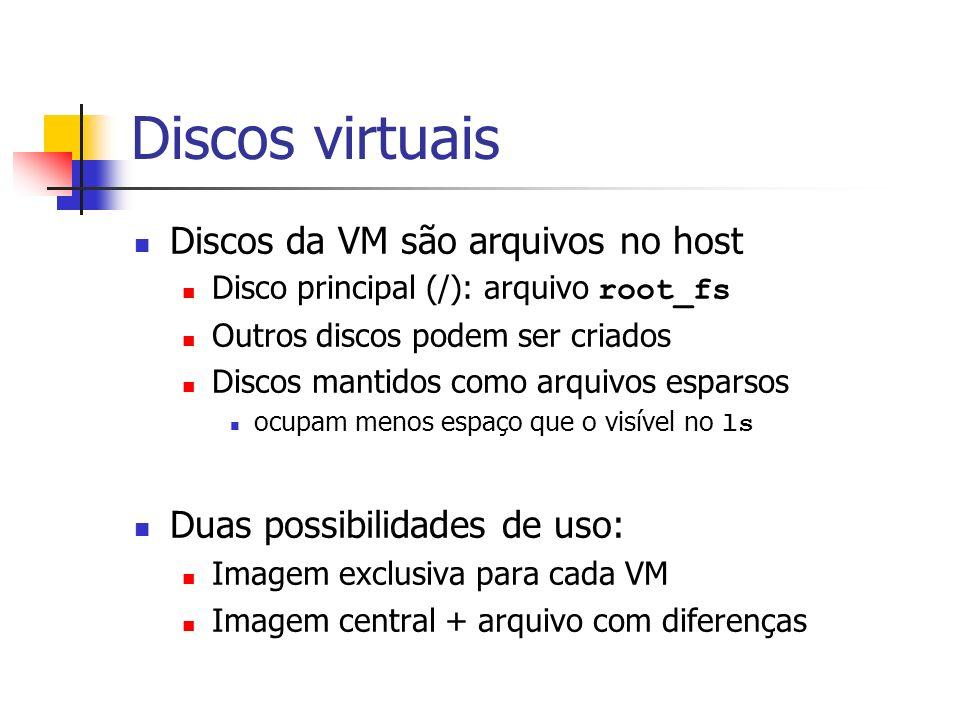Discos virtuais Discos da VM são arquivos no host