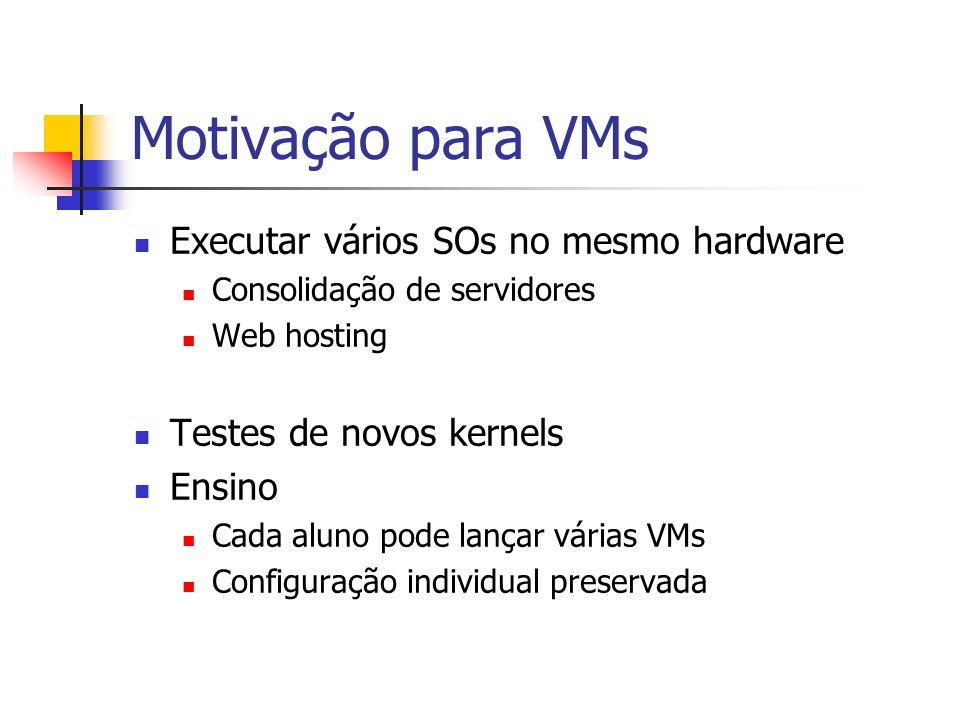 Motivação para VMs Executar vários SOs no mesmo hardware