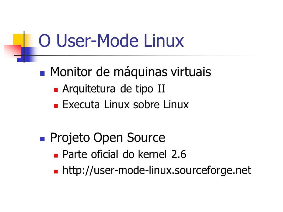 O User-Mode Linux Monitor de máquinas virtuais Projeto Open Source