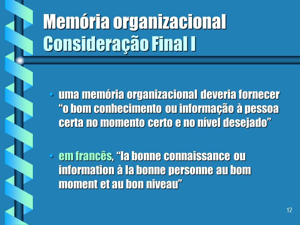 Memória organizacional Consideração Final I