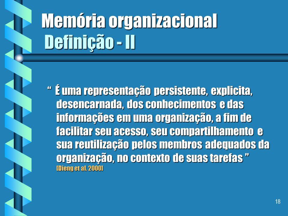 Memória organizacional Definição - II