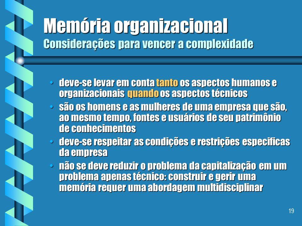 Memória organizacional Considerações para vencer a complexidade