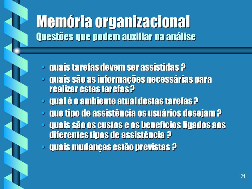 Memória organizacional Questões que podem auxiliar na análise