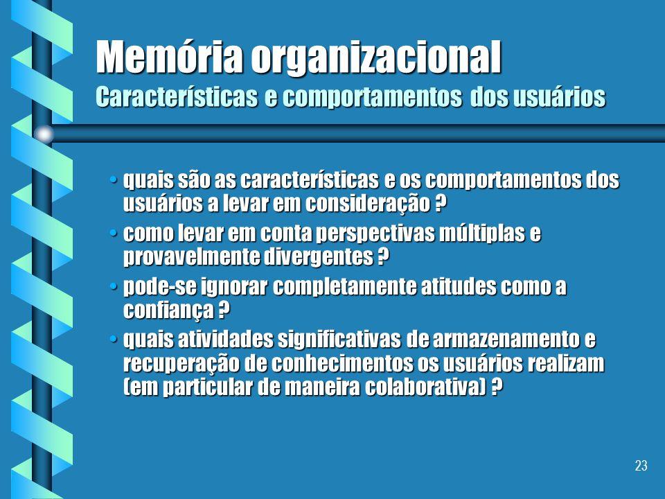 Memória organizacional Características e comportamentos dos usuários