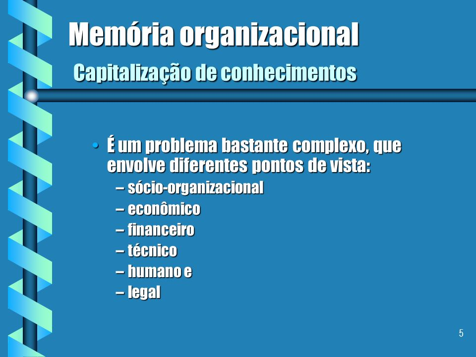 Memória organizacional Capitalização de conhecimentos