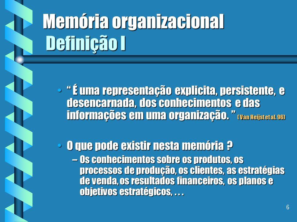 Memória organizacional Definição I