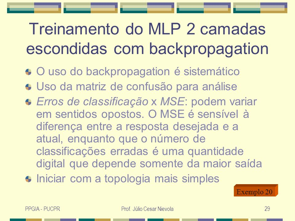 Treinamento do MLP 2 camadas escondidas com backpropagation