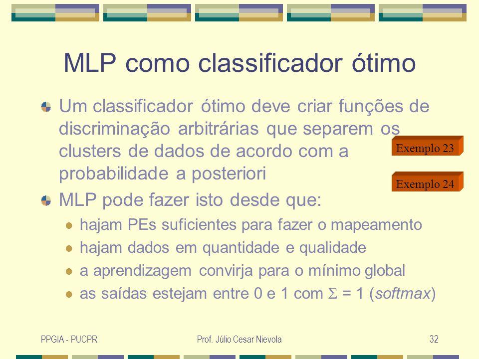 MLP como classificador ótimo