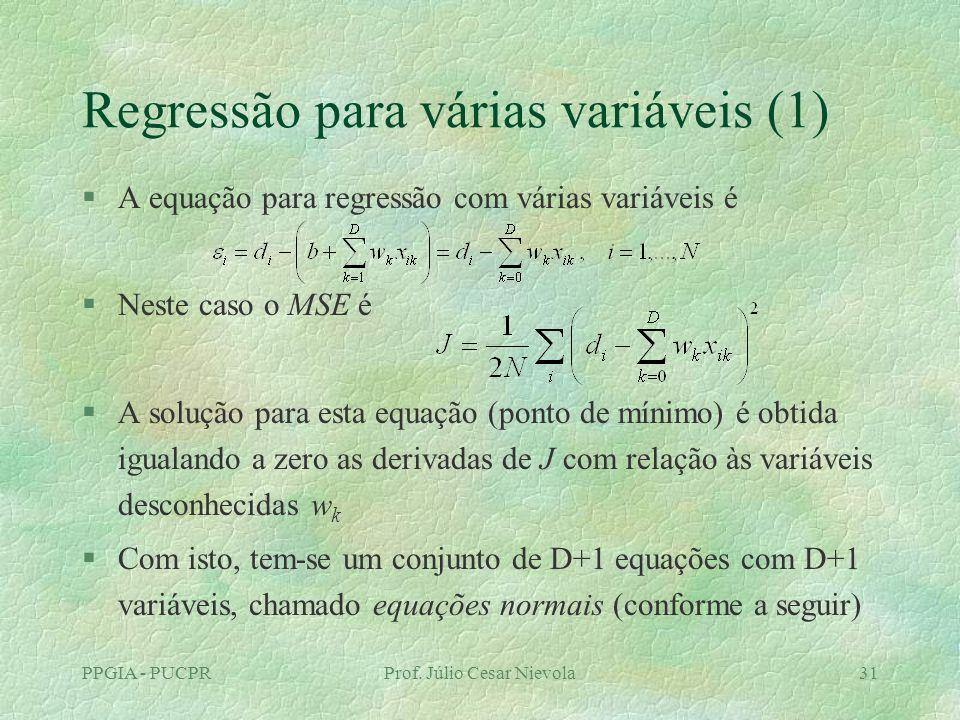 Regressão para várias variáveis (1)