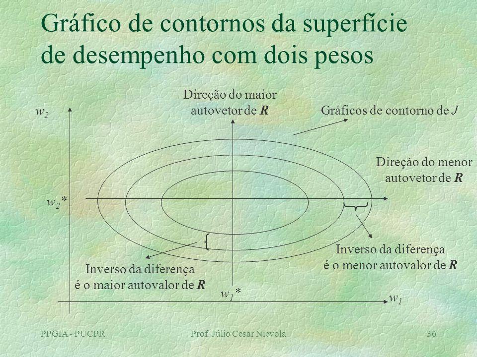 Gráfico de contornos da superfície de desempenho com dois pesos