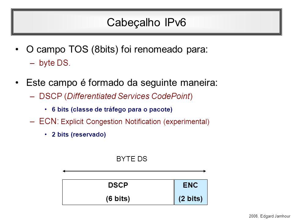 Cabeçalho IPv6 O campo TOS (8bits) foi renomeado para: