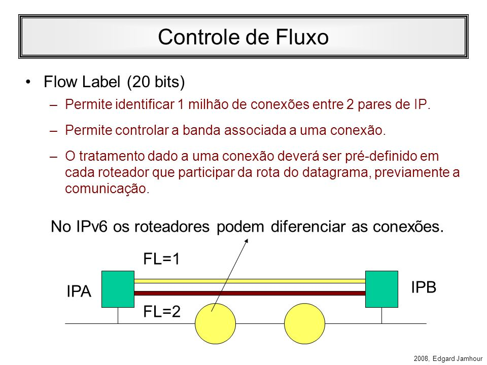 No IPv6 os roteadores podem diferenciar as conexões.