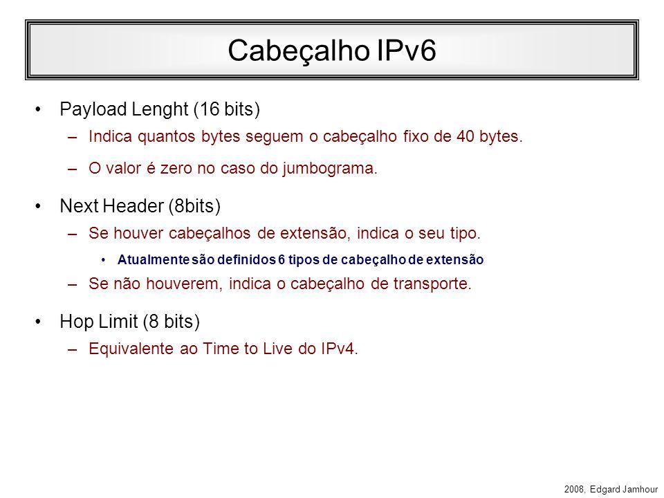 Cabeçalho IPv6 Payload Lenght (16 bits) Next Header (8bits)