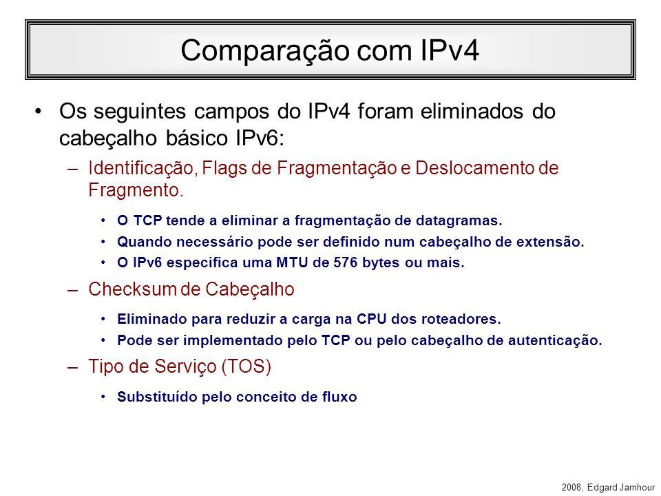 Comparação com IPv4 Os seguintes campos do IPv4 foram eliminados do cabeçalho básico IPv6: