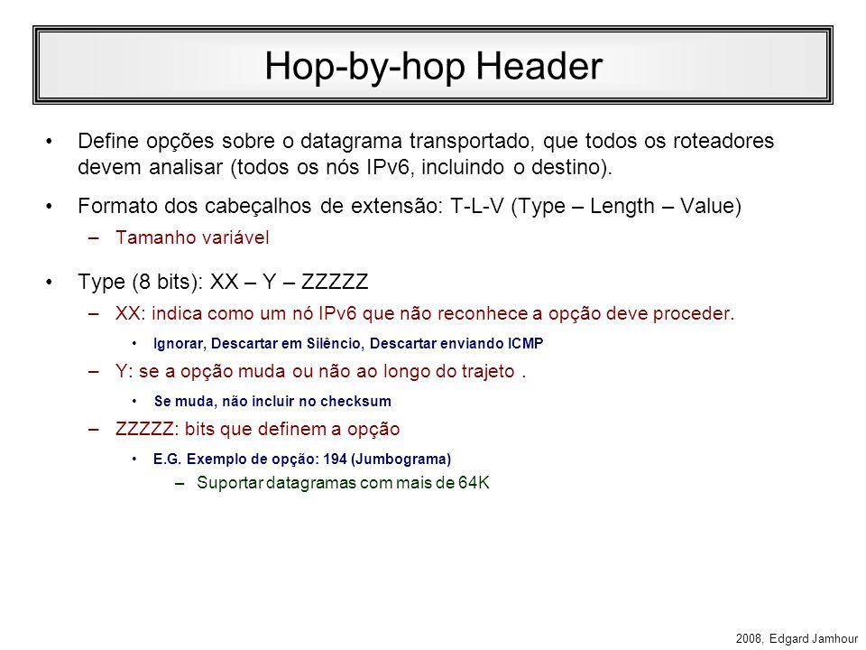 Hop-by-hop Header Define opções sobre o datagrama transportado, que todos os roteadores devem analisar (todos os nós IPv6, incluindo o destino).