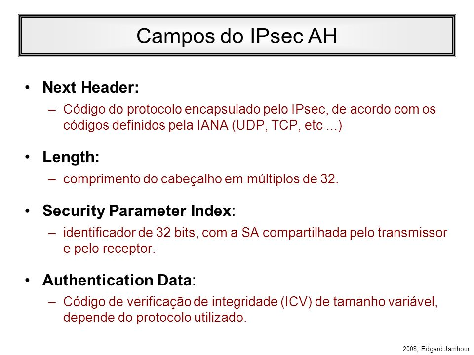 Campos do IPsec AH Next Header: Length: Security Parameter Index: