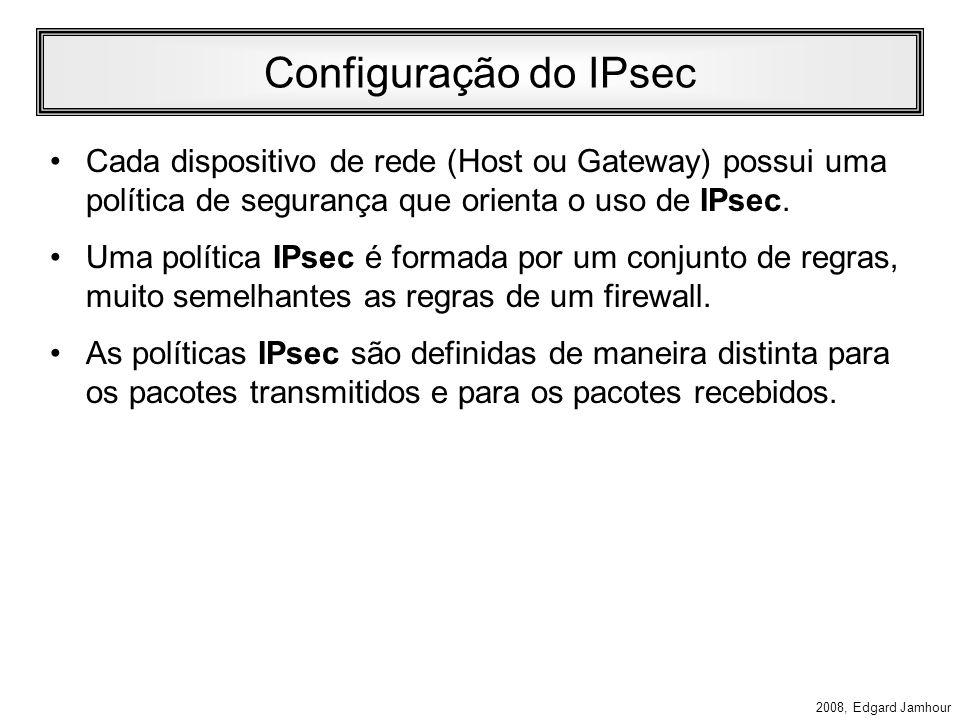 Configuração do IPsecCada dispositivo de rede (Host ou Gateway) possui uma política de segurança que orienta o uso de IPsec.