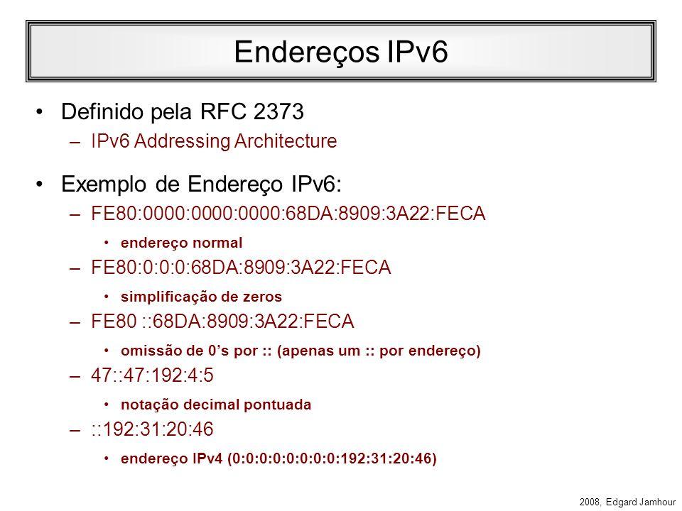 Endereços IPv6 Definido pela RFC 2373 Exemplo de Endereço IPv6: