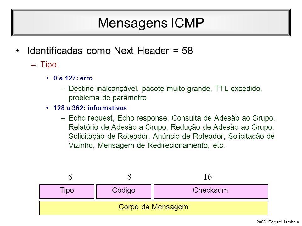Mensagens ICMP Identificadas como Next Header = 58 8 8 16 Tipo: