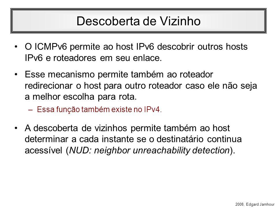 Descoberta de Vizinho O ICMPv6 permite ao host IPv6 descobrir outros hosts IPv6 e roteadores em seu enlace.