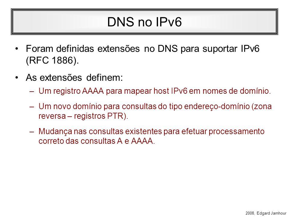 DNS no IPv6Foram definidas extensões no DNS para suportar IPv6 (RFC 1886). As extensões definem: