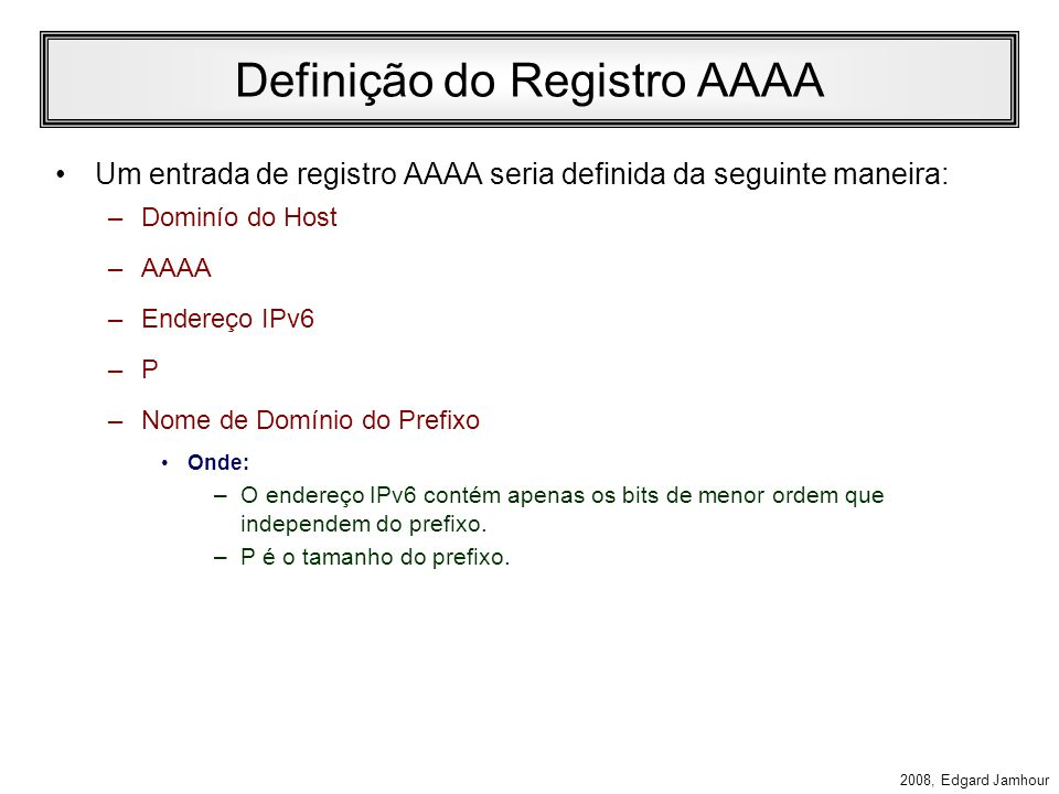 Definição do Registro AAAA
