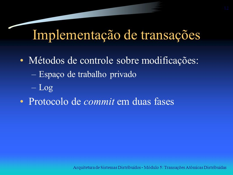 Implementação de transações