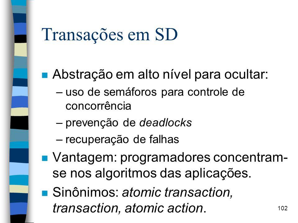 Transações em SD Abstração em alto nível para ocultar: