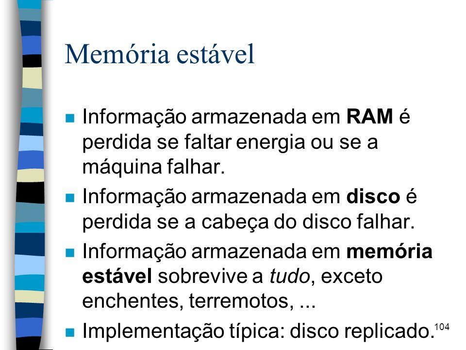 Memória estável Informação armazenada em RAM é perdida se faltar energia ou se a máquina falhar.