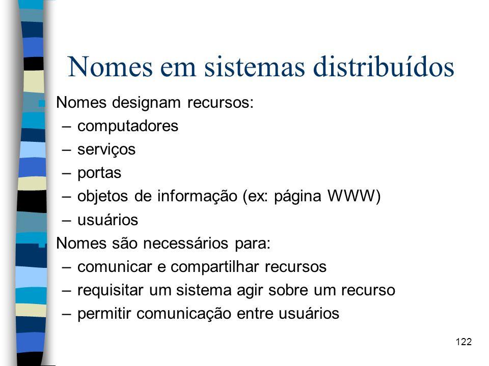Nomes em sistemas distribuídos