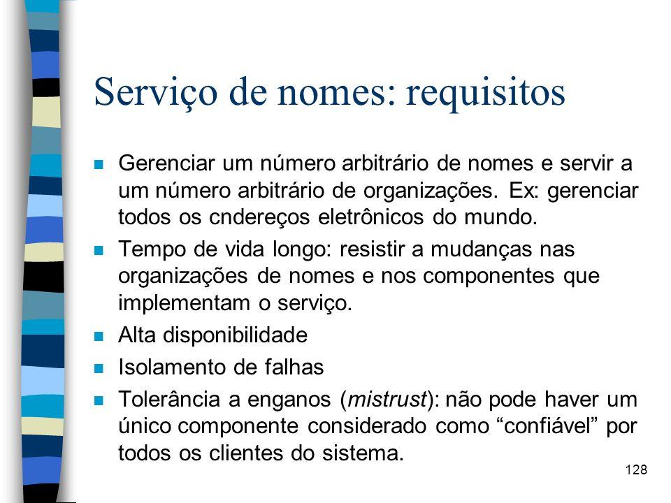 Serviço de nomes: requisitos
