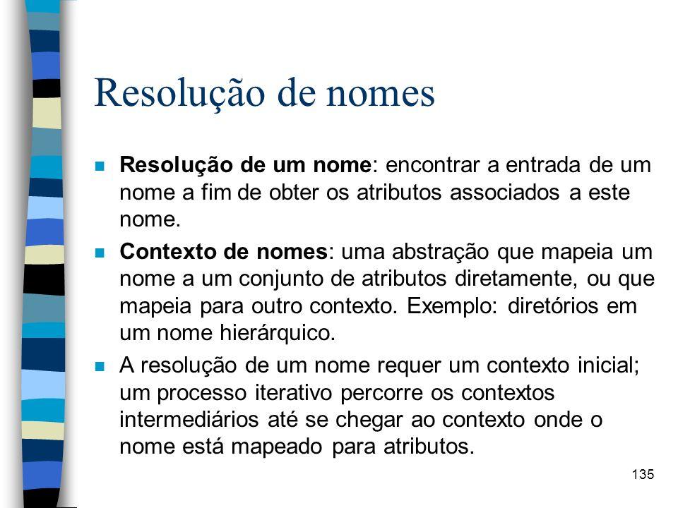 Resolução de nomes Resolução de um nome: encontrar a entrada de um nome a fim de obter os atributos associados a este nome.