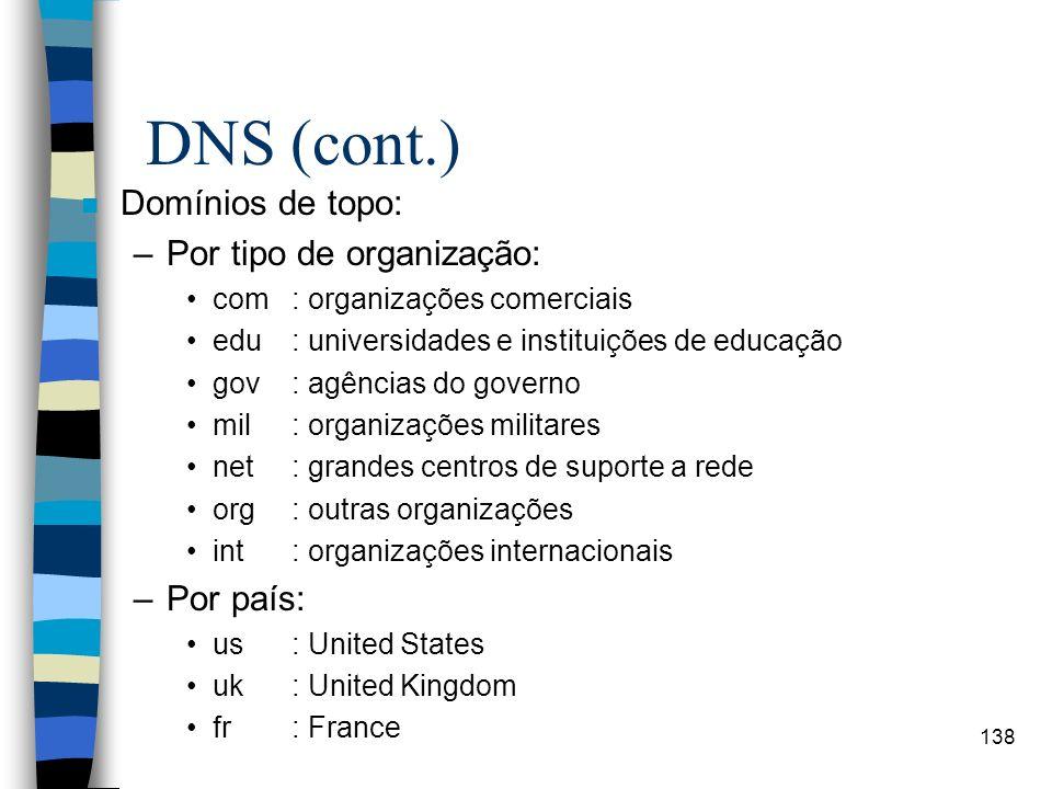DNS (cont.) Domínios de topo: Por tipo de organização: Por país: